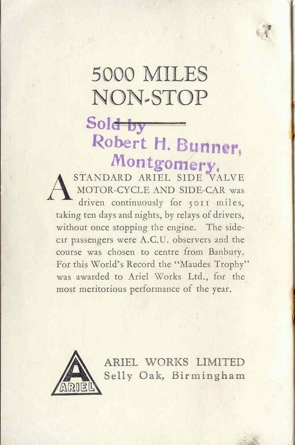 Ariel 1929 Sales Brochure