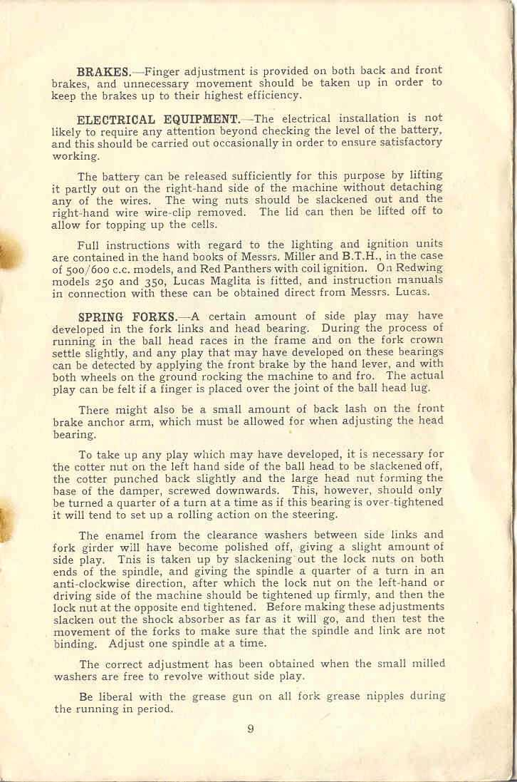 Panther 1933-34 Instruction Booklet